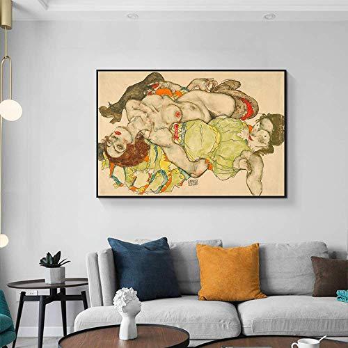 YuanMinglu Dos Chicas mienten y se adhieren al Pintor Lienzo Arte realismo impresionismo Pared Arte Cartel decoración sin Marco Pintura 40X60 cm