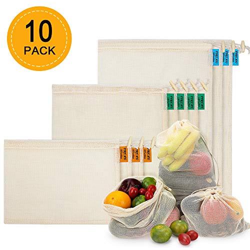 Sac Fruit et Légume Réutilisable, Lot de 10 Sacs de Course en Coton Maille Biologique pour Shopping Pain Epicerie Organisation de Réfrigérateurs (3*S,4*M,3*L)