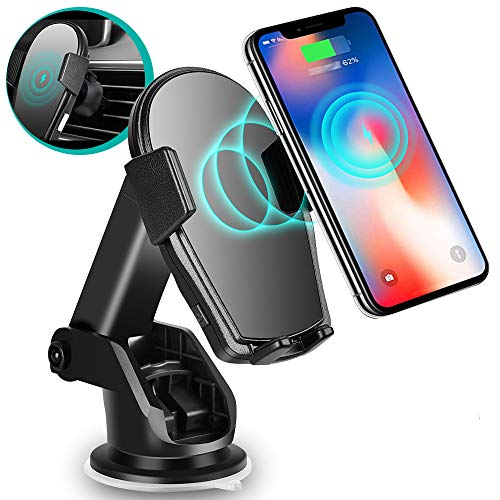 Wireless Car Charger - Charvoxrt Car Charger Mount Auto Clamping with 7.5W/10W QI Fast Charging - Phone Holder Air Vent Windshield Dashboard for iPhone12, 11 Pro/Xs Max/XR, Samsung Galaxy S10+/S9+/S8+