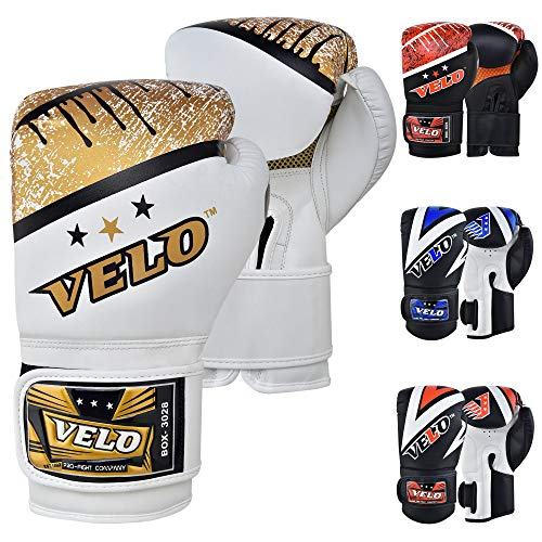 VELO Leder-Boxhandschuhe für Muay Thai, Training, Sparring, Boxsack, Kickboxen, Kampfhandschuh für Boxsack, Fokus-Pad, Arm-Kick-Pad
