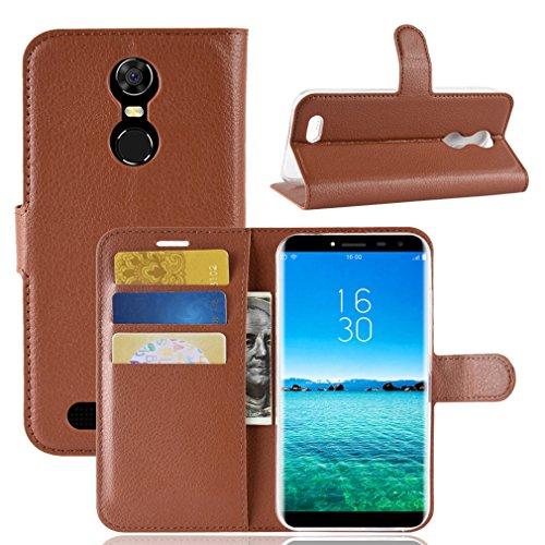 LMFULM® Hülle für OUKITEL C8 3G / 4G (5,5 Zoll) PU Leder Magnetverschluss Brieftasche Lederhülle Handytasche Litschi Muster Standfunktion Ledertasche Flip Cover für OUKITEL C8 Braun