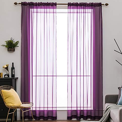 MIULEE Voile Vorhang Transparente Gardine aus Voile Einfarbig Stangendurchzug Transparent Wohnzimmer Luftig Dekoschal für Schlafzimmer 2er Set 175 x 140cm (H x B), Rod Pocket Lila