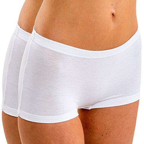 HERMKO 5700 2er Pack Damen Panty aus anschmiegsamer Baumwolle/Elastan, Farbe:weiß, Größe:44/46 (L)