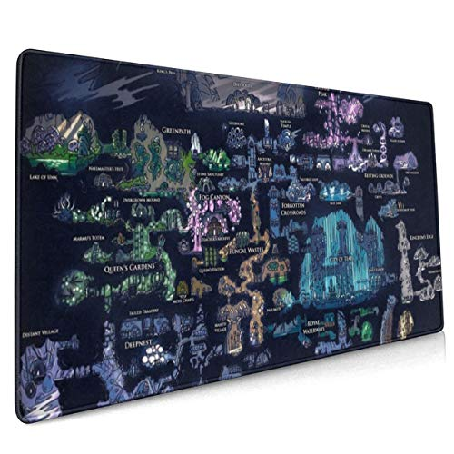 Hollow Knight Hallownest Wallpaper Extended Gaming Mouse Mat,DIY Custom Professional Mouse Pad (35.5x15.8In),Desk Pad Keyboard Pad Mat,Water-Resistant,Non-Slip Base,For Work & Gaming,Office & Home