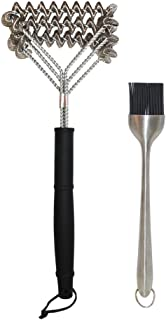 """BBQ Grill Brush With Triple Helix Bristle Free Stainless Steel Scrubbers - 18"""" / 46 cm Long Handle For Safe Cleaning - Mad..."""