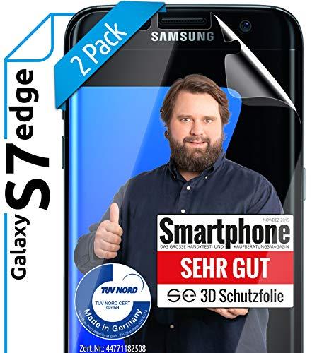 [2 Stück] 3D Schutzfolien kompatibel mit Samsung Galaxy S7 Edge - [Made in Germany - TÜV NORD] – HD Displayschutz-Folie - Hüllenfreundlich – Transparent – kein Glas - Panzer-Folie TPU - Klar