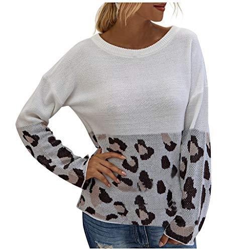 Shaohan - Jersey de punto para mujer, diseño de leopardo Blanco 40