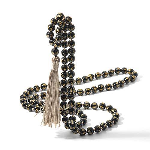 SWAOOS 108 Seis Palabras Mantra obsidiana Mala Collar con Cuentas y Nudos bendición meditación Yoga Tibetano Japamala Borla joyería