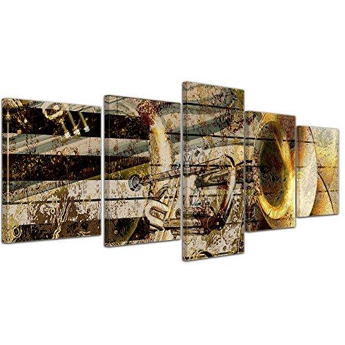Bilderdepot24 Bild auf Leinwand | Trompete und Piano abstrakt in 200x80 cm mehrteilig als Wandbild XXL | Wand-deko Dekoration Wohnung modern Bilder | 170561