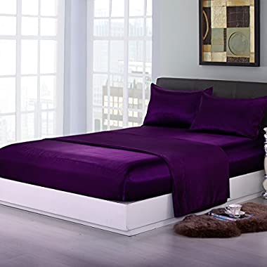 Sookie 4 piece Home Fashions Royal Opulence Satin Queen Sheet Set, Purple