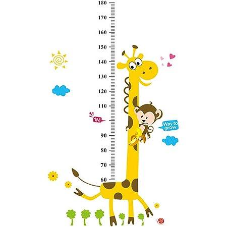 Growth Chart Animals Kids Height Measure Ruler Nursery Home Wall Sticker Lovely