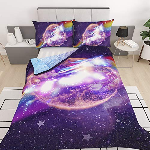Home-Imaginations Galaxy Unicorn Bedding | Rainbow Marble Tie Dye Pastel Reversible Comforter Cover | Teens Kids Boys Girls Psychedelic Space | Duvet Cover 3 Piece Bed Sheet Sets (Twin)