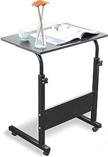 DlandHome 60 * 40 cm Ajustable Mesa de Ordenador Portatil con Ruedas Sofá Mesa Mesas de Centro, con Ranura para Tableta, Negro