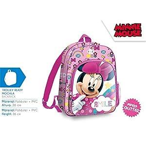 51VxiyT8EvL. SS300  - Minnie Mouse 36cm Mochila Tiempo Libre y Sportwear Infantil, Juventud Unisex, Multicolor (Multicolor), 36 cm