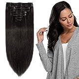 Extension a Clip Cheveux Naturel - Rajout Vrai Cheveux Humain à Clips 8 Mèches - Epaisseur Moyenne (#1B NOIR NATUREL, 20cm-65g)