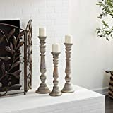 Deco 79 Artfully Carved Intricate Design Wooden Candle Stand, Set of 3