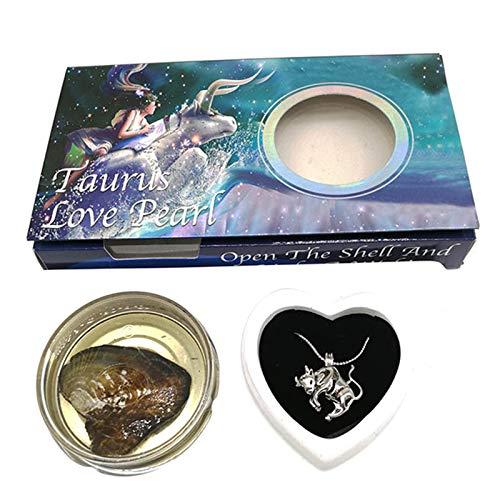 Henghe Kit de desejos do zodíaco Love Pearl Creations com colar com pingente, durável para mulheres e meninas com cerca de 45 cm, 1 x Kit de desejos do zodíaco de criações de pérola amor