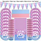 Platos Vajilla Fiesta 65Pcs Juego De Vajilla Desechable Gender Reveal Para Niño O Niña Servilleta De Plato Gender Reveal Baby Shower Party Decorations Supplies, 65Pcs Set