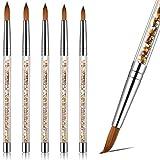 5 Pièces Pinceau à Ongles en Acrylique à Tailles Différentes pour Poudre Acrylique Brosse d'Art d'Ongles de Manucure Pédicure Ronde avec Poignée Scintillante pour DIY Art d'Ongles