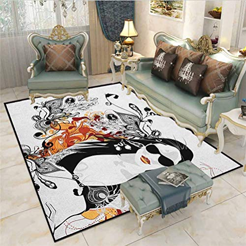 Teen Girls Camping Rug Outdoors Rugs Party Girl Glasses with Flowers Blossoms Ornamental Patterns Background Image Chair mats for Carpeted Floors Orange Black 6.5 x 8 Ft