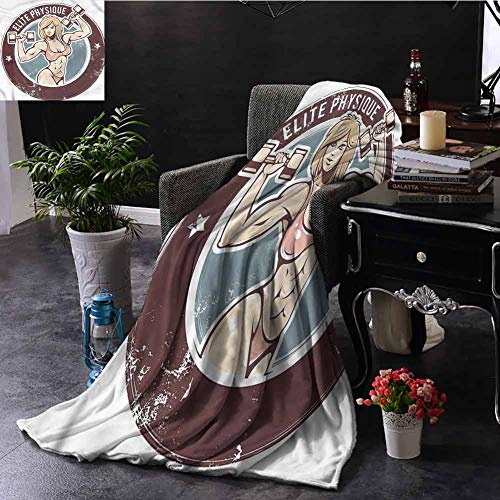 SSKJTC Fitness Large Throw Blanket Retro Sexy Gym Lady Livingroom Couch Bed Camping Picnic W72 xL54