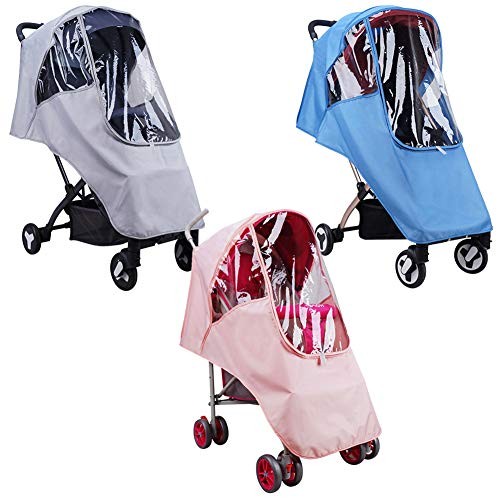 SH-RuiDu Cochecito de bebé Impermeable Cubierta de lluvia EVA Cochecito Accesorios Universal Wind Dust Shield(rosa)