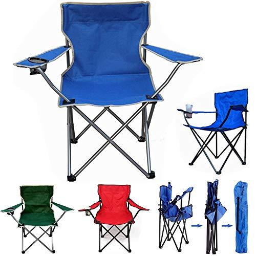 LTAYZ Sillas de Camping Plegables, Sillas para Exteriores con Reposabrazos y Portavasos, Estructura Estable, Capacidad de Carga Máx. 120 kg