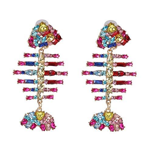 Pendientes de espina de pescado personalizados Accesorios Pendientes de diamantes de espina de pescado Joyas de oreja europeas y americanas