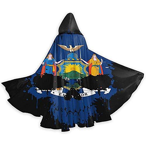 New York Schädel Flagge Mit Kapuze Mantel Cape Lange Mit Kapuze Cape Robe Für Halloween Cosplay Party Kostüm Liefert Schwarz Weihnachten, 59 Zoll (150,40 cm)