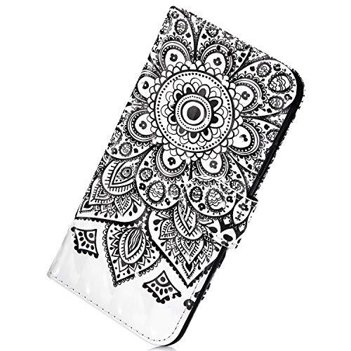 Herbests Kompatibel mit Samsung Galaxy J4 Plus 2018 Handyhülle Leder Hülle Bunt 3D Glitzer Bling Glänzend Leder Schutzhülle Flip Case Brieftasche Klapphülle Wallet Tasche,Schwarz Mandala Blumen