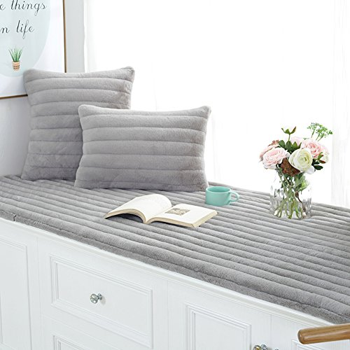 YU\&AN Bay Window mat,Window sill mat Plush Bay Window Blanket Tatami Cushion Balcony mat Machine Washable for Sofa Bedroom Window sill-Gray 60x150x1.5cm(24x59x1inch)