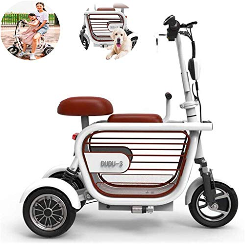 Erik Xian Power Wheelchair Folding Electric Scooter, Electric 3-Wheeler Two-Seater Outdoor Mobile Scooter for Women with Disabilities, 400W15A Lithium Battery Life 65KM Comfortable and Safe Travel