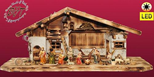 ÖLBAUMKRIPPE LED-beleuchtet -Weihnachtskrippe,XXL Holz-Krippe Weihnachten-Wurzelkrippen, mit Premium-DEKOSET mit Krippen-Tieren Schafe und Ziegen, MASSIVHOLZ