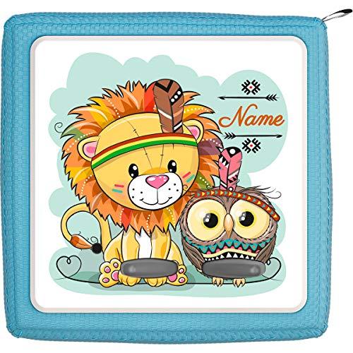Coverlounge® Schutzfolie passend für die Toniebox mit Namen personalisiert | Kleiner Löwe mit Eule als Indianer Verkleidet