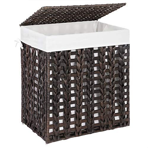 SONGMICS Handwoven Laundry Hamper Rattan-Style Laundry Basket with Removable Liner Bag Lid Metal Frame 179 x 126 x 203 Inches for Living Room Bathroom Brown ULCB050K01