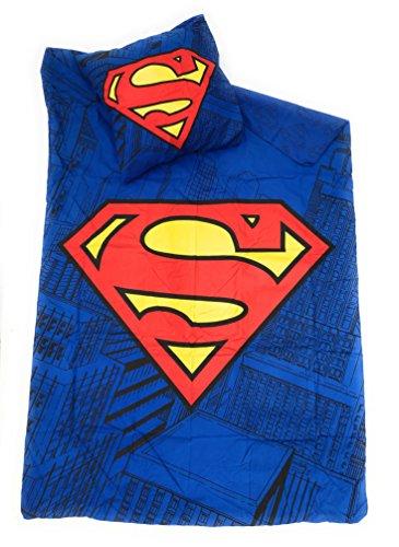 SUPERMAN DC COMICS Juego de ropa de cama–funda de edredón Reversible 140x 200cm + funda de almohada de 63x 63cm, microfibra–Oeko-Tex Justice League–League des justiciers