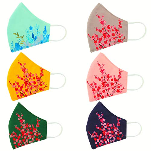 Rectitude® - 6 Pcs Fashion Flowers Cloth Face Mask - Adjustable Washable Cotton Masks for Adult (Women mask Flower)