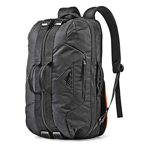 High Sierra Dells Canyon Convertible Backpack Travel and Gym Duffel Bag with Quick-Access Pockets for Phones, Wallets, and Keys - Features Dual-Expansion Compression Straps Black