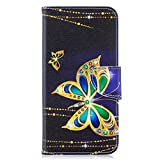 Coopay Motif Or Papillon PU Cuir Étui pour Samsung A10 Antichoc Noir Housse de Protection Pochette...