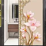 Xijier Flower Lotus - Película decorativa para ventana, privacidad no adhesiva, vidrio esmerilado, para puerta, ventana, ventana, 40 x 90 cm