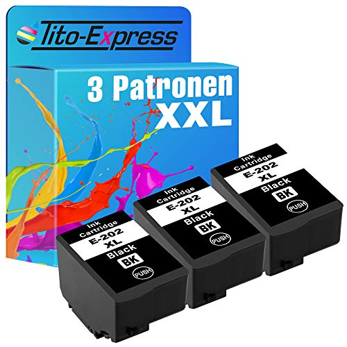 Tito Express ProSerie 3X Patronen kompatibel mit Epson 202XL 202 XL mit 16ml Black XXL Inhalt Expression Premium XP 6000 XP 6005 XP 6100 XP 6105