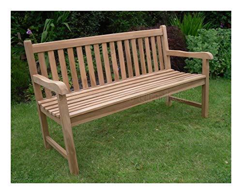 5ft 150cms Chunky Teak 3 Seat Garden Park Bench Java Garden Furniture For...