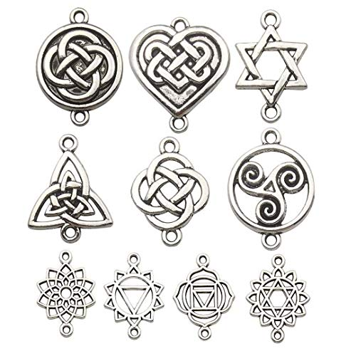 50pcs Celtic Knot Connector Charms Collection, Mix Antique Silver Trinity Irish Wiccan Flower Metal Pendant Supplies Findings for Jewelry Making (HM155)