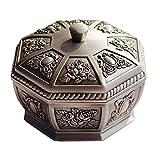 LIXBB HAOYANGYHG- Cenicero Europeo Retro multifunción con Cubierta a Prueba de Viento a Prueba de Viento Home Metal Crafts YHGGHJG-39 (Color : Silver, Size : 11cm*8cm)