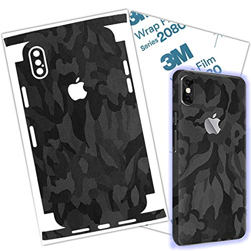 Black Camo Skin Wrap Compatible with iPhone XR Protective Around Borders and Back Elegant Thin 3D Skin Made with 3M 2080 Film (iPhone X R)