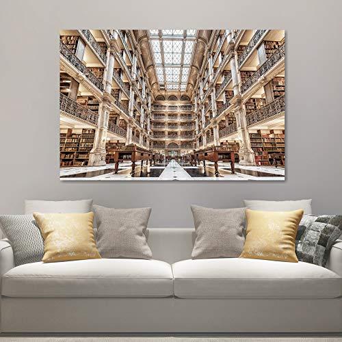 DECORARTE - Cuadros Impresión Digital - Fotografía sobre Cristal Biblioteca (120x80)