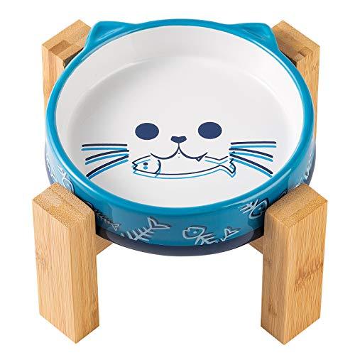 Yangbaga Katzennapf mit Bambushalter, Farbe in Blau, Futternapf Katze Keramik Fressnapf Set Futterbar mit Holz Halterung