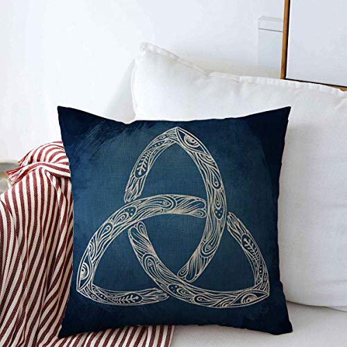 Staropor Throw Pillows Cover 18 x 18 Inches Trinity Triquetra Irish Gaelic Celtic Celt Body Endless Mind Spirit Kells Tattoo Magic History Book Cushion Case Cotton Linen for Fall Home Decor