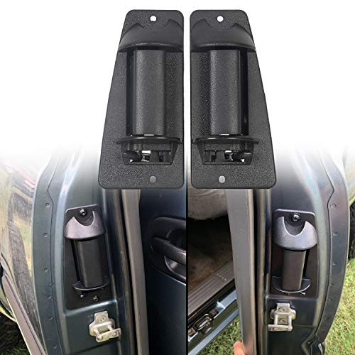 ECOTRIC Pair of Rear Door Handles Compatible with 1999-2007 Silverado and GMC Sierra Rear Exterior Outside Outer Pickup Truck Extended Cab Pair Black Replace for Part Number 15758172 15758171