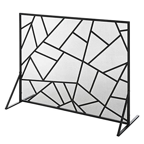 DFJU Paneles Anchos Pantalla de Chimenea Plana de 99 cm para Quemador de leña de Registro,Protector contra Incendios de Llama de Chispa con diseño de línea geométrica,Cortina de Estufa